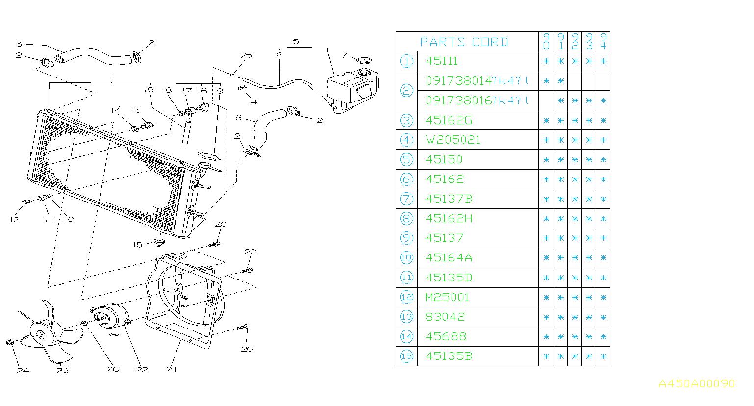 Subaru Loyale Bolt  U0026 Washer Assembly  Engine  Cooling