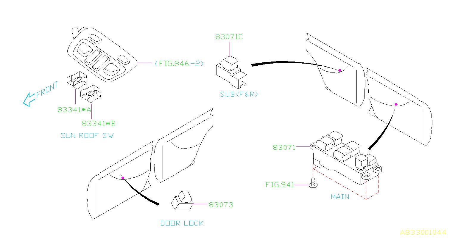 Subaru Legacy Door Lock Switch  Switch Manual Door Locking