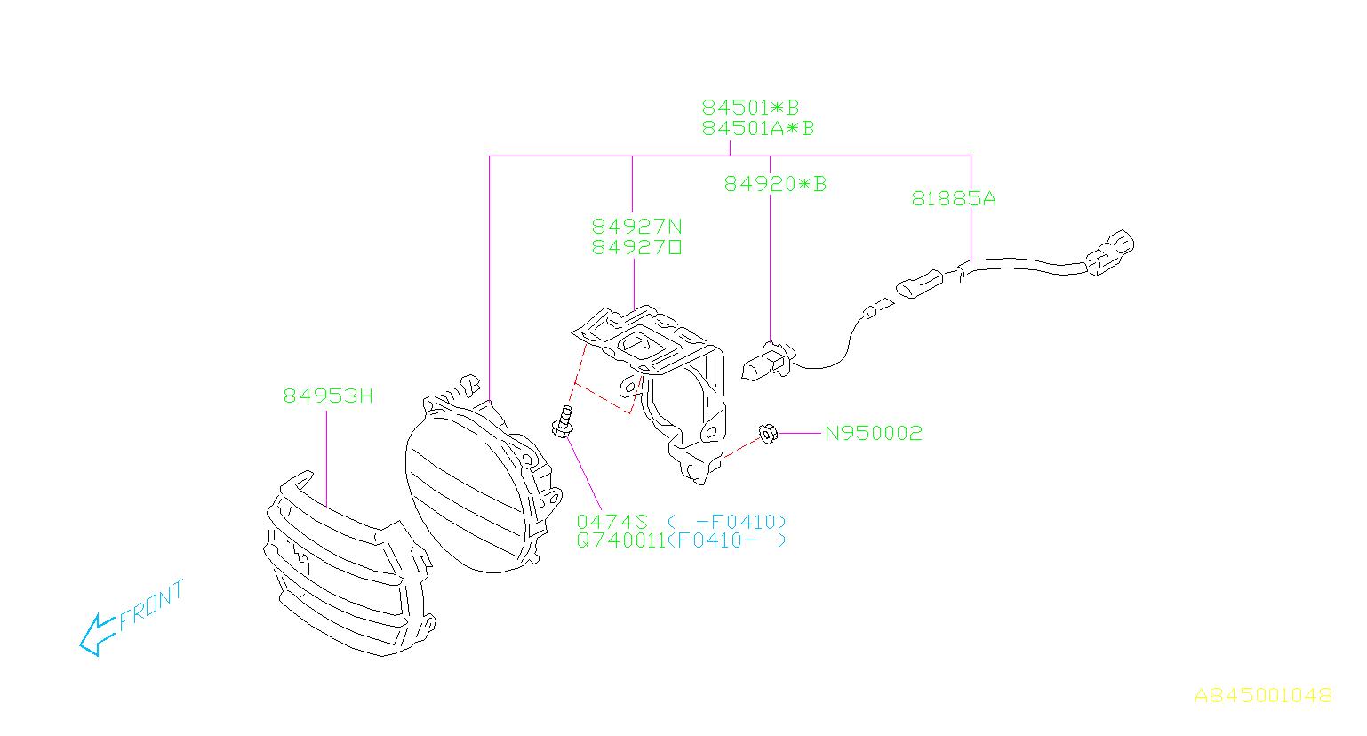 subaru baja fog light assembly-front right  lamp  electrical  circle