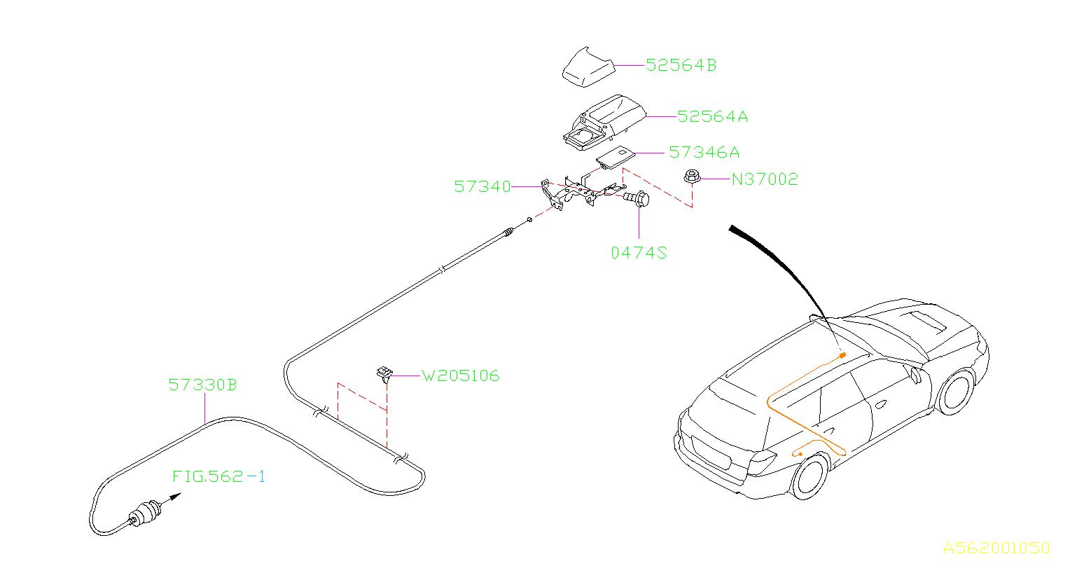 Subaru Outback Fuel Door Release Handle  Knob