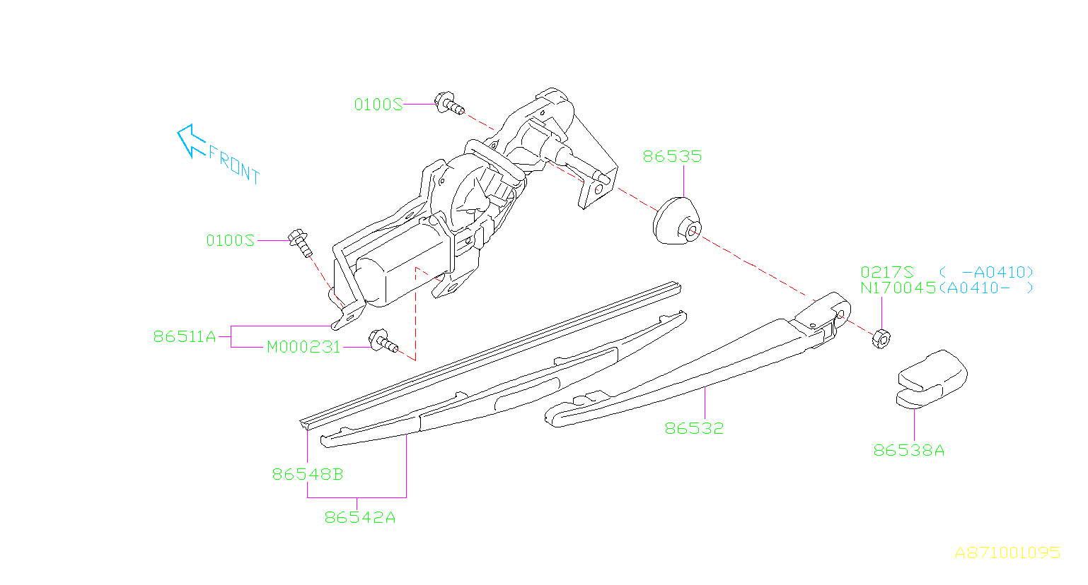 subaru outback cover-rear wiper arm  electrical