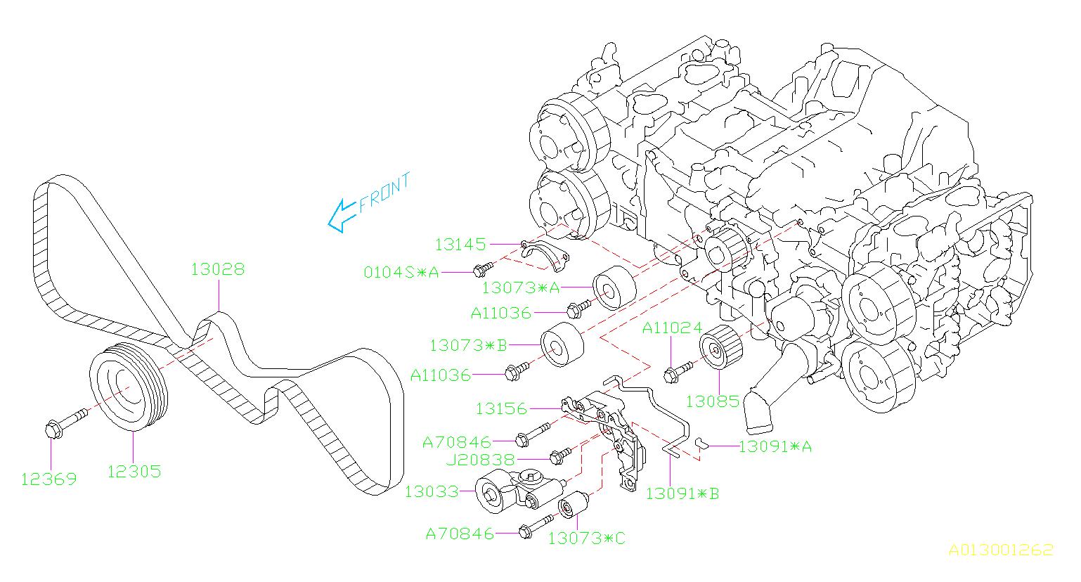 Subaru Legacy Engine Timing Belt Tensioner  Camshaft