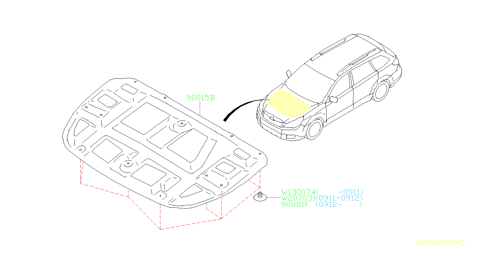 subaru legacy insulator-front hood  interior