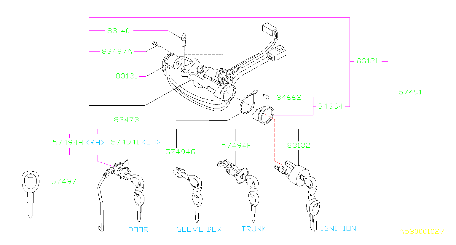 Subaru Svx Key Lock Set Door   Left  Right   Kit  Body