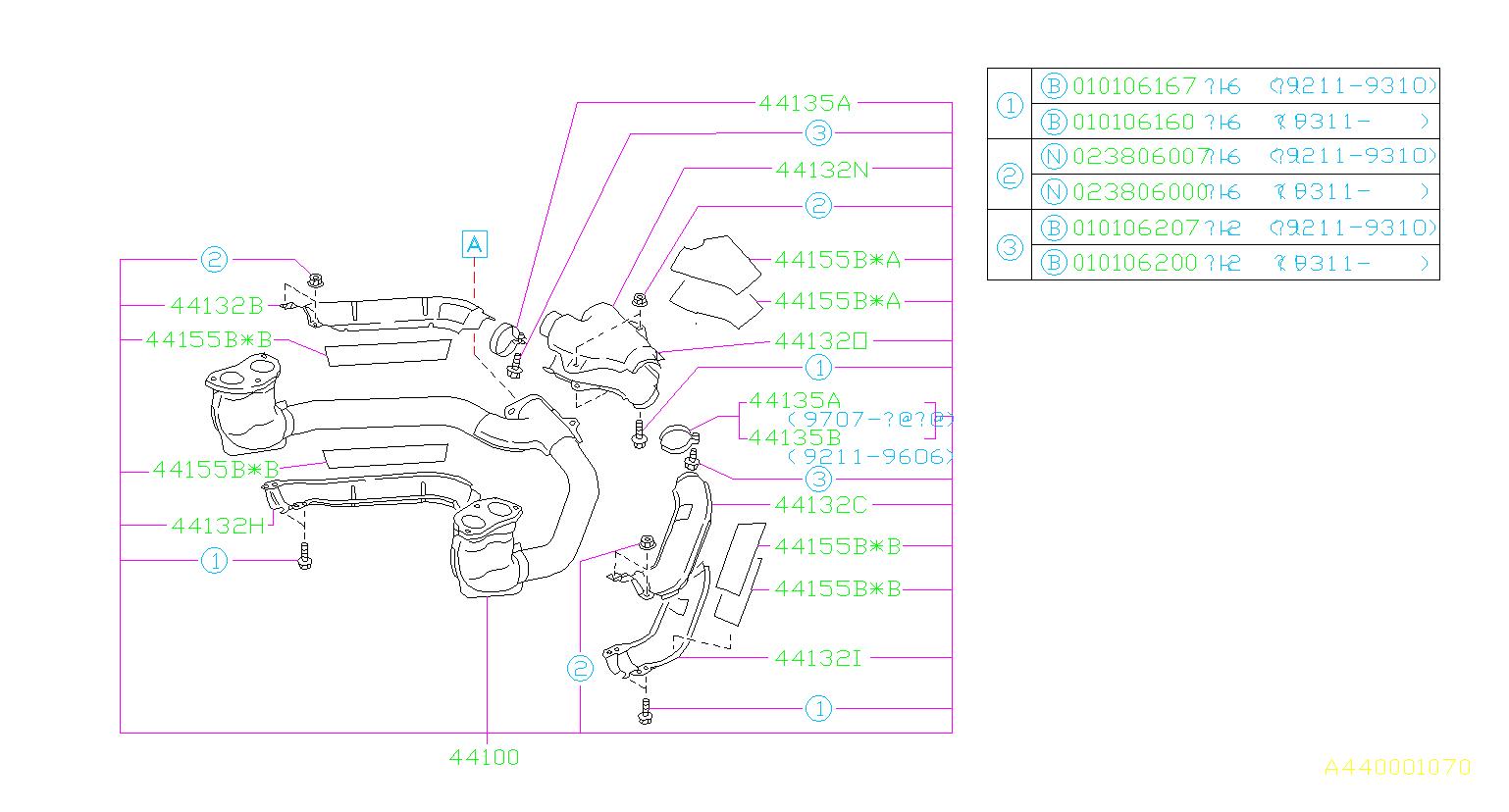 Subaru Impreza Band Complete   Left   Exhaust