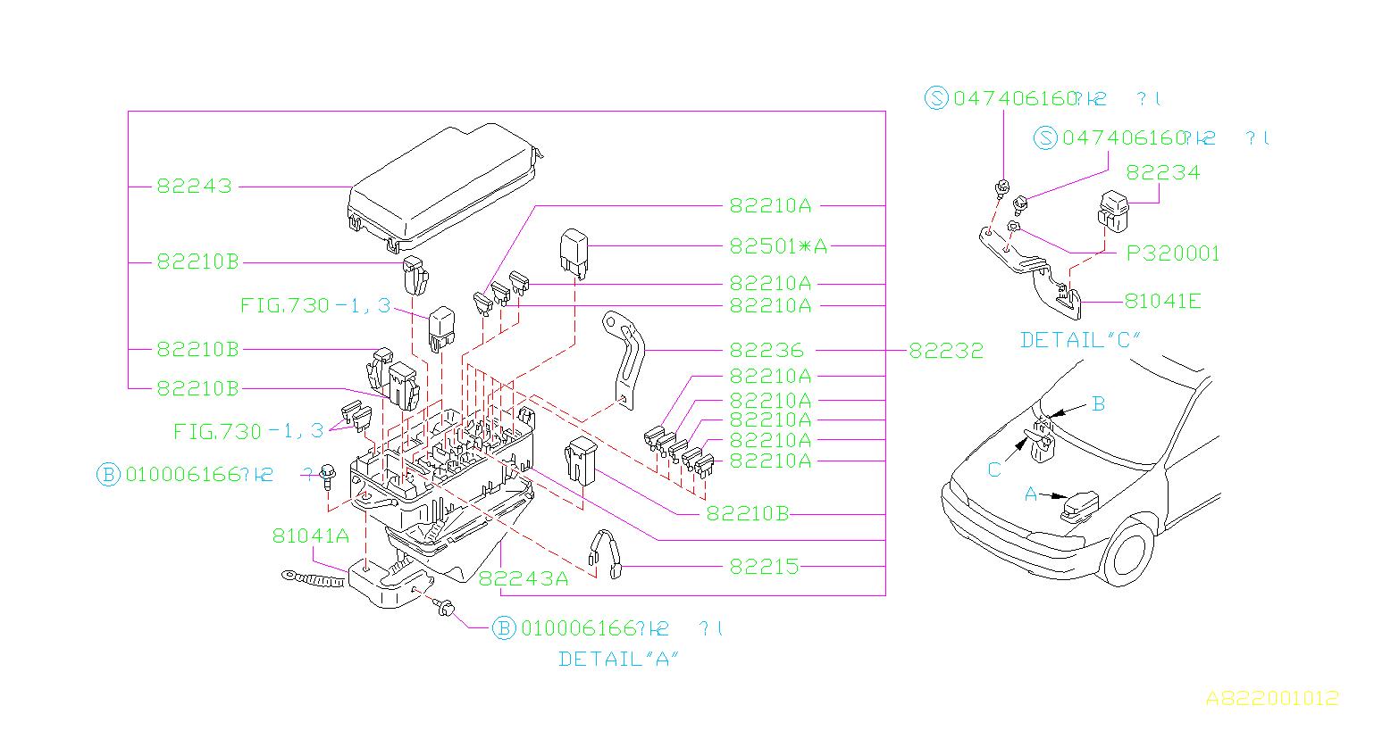 Subaru Impreza Fuse  Electrical  Box  Main