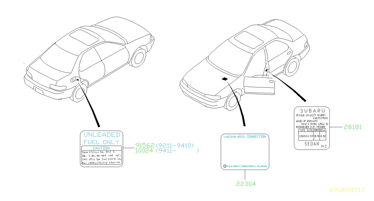 Subaru Impreza Engine Decal. Label Vacuum PIPING. Label ...