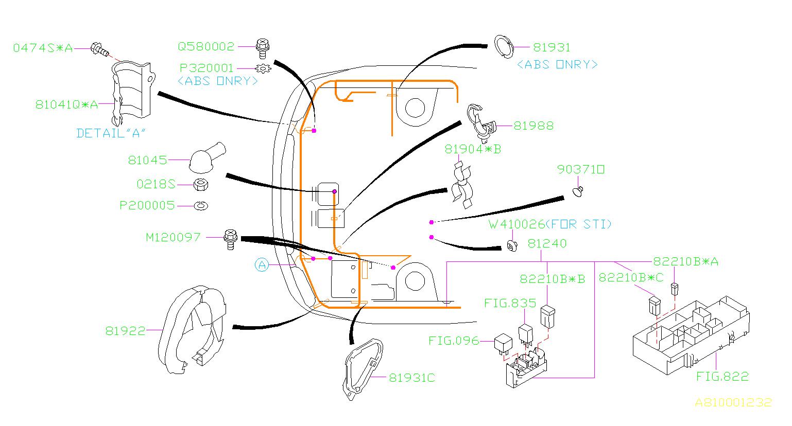 Subaru Sti Clamp Altr Harness  Wiring  Main  Front