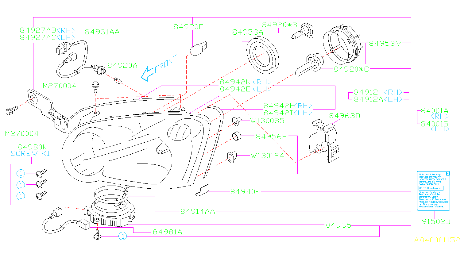 Subaru Impreza Headlight Wiring Harness