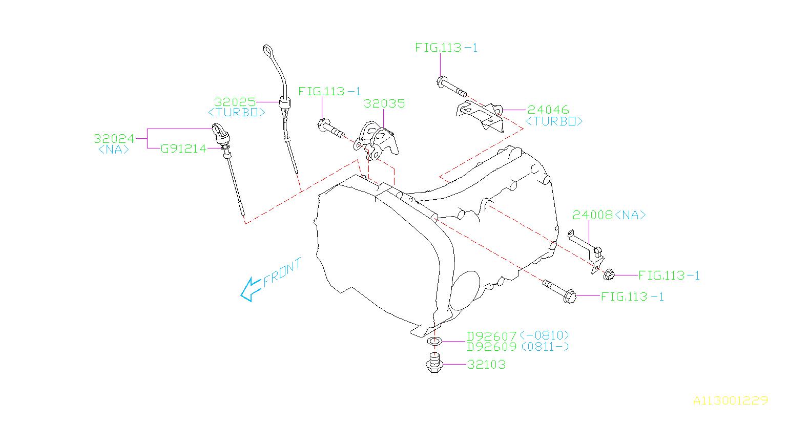 Subaru Impreza Stay Transmission Harness  Manual  Fitting  Case