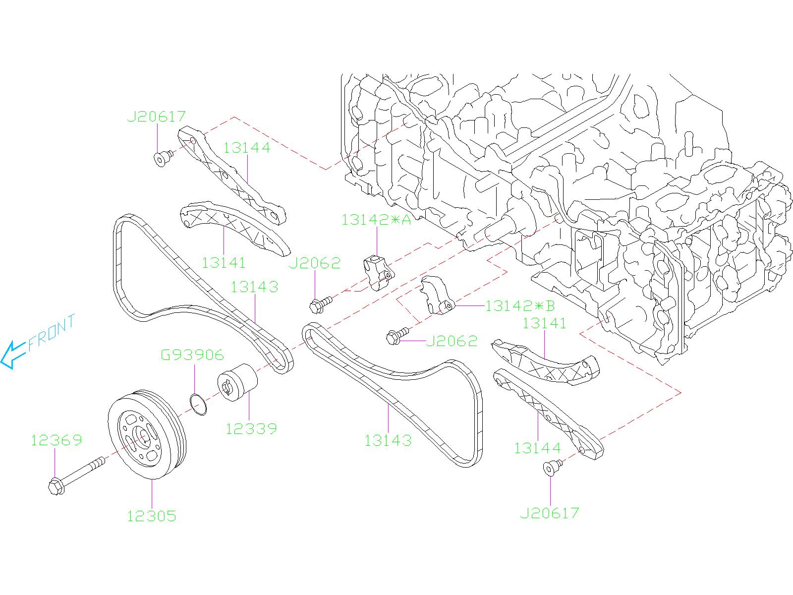 subaru impreza tensioner-chain  timing  camshaft  belt  engine  cooling