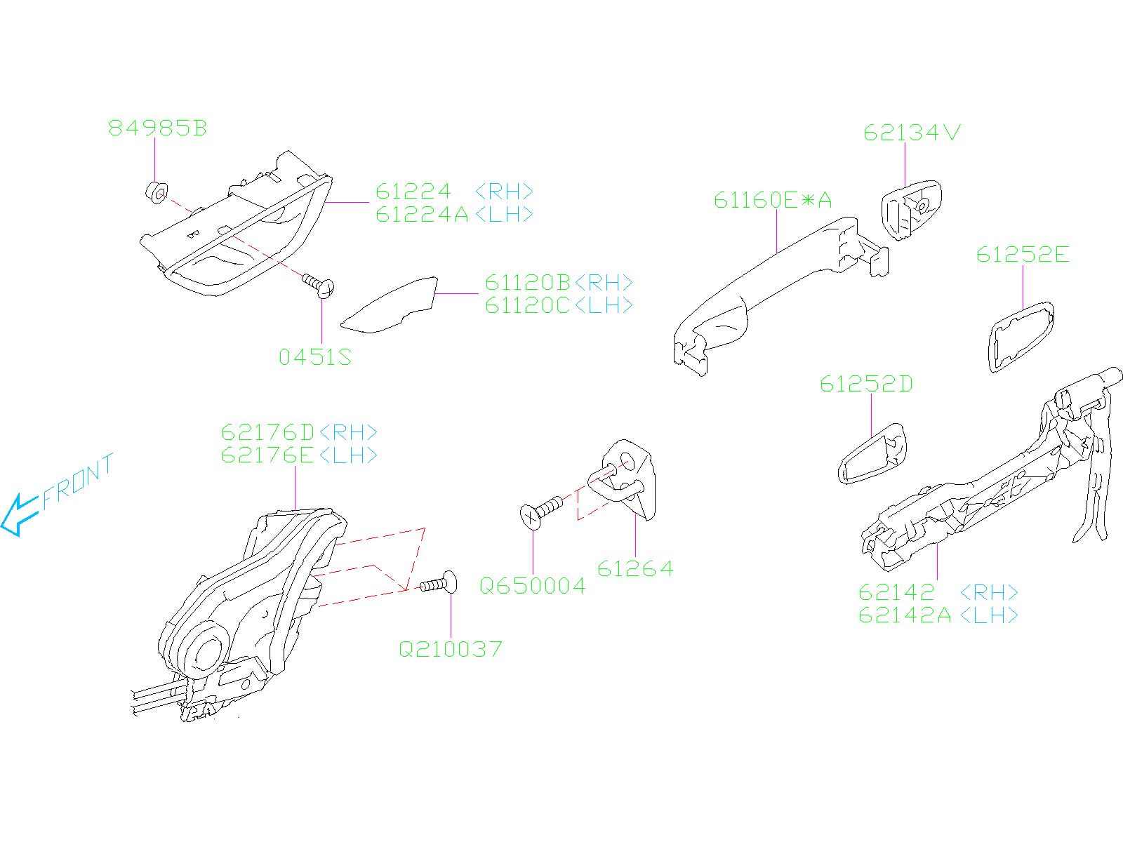 Subaru Crosstrek Handle Door Outer Latch Rear Front
