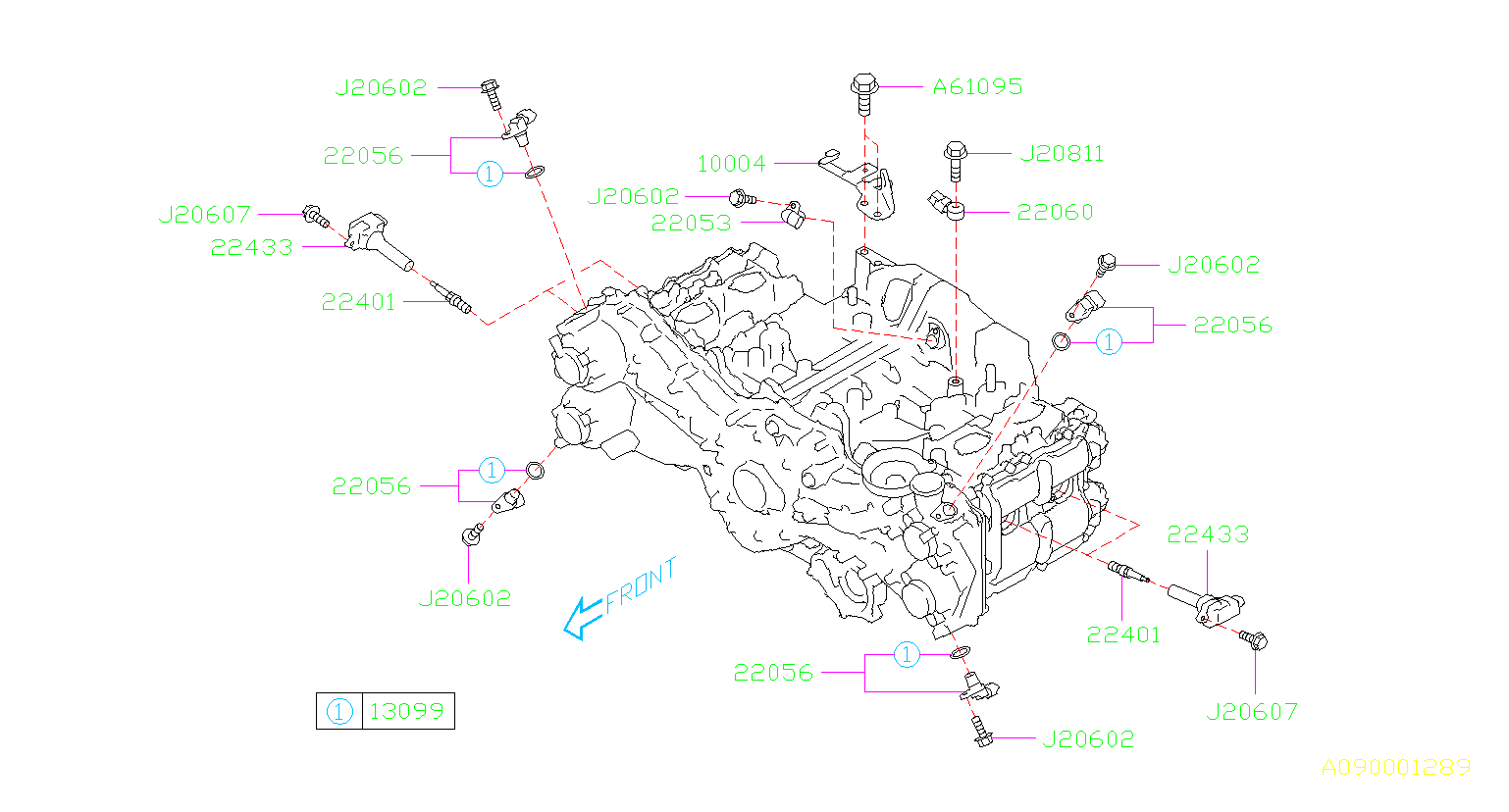22401AA820     Subaru    Spark plug Maintenance  cord  high