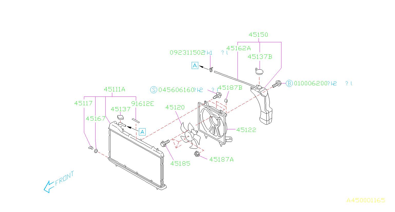Subaru Forester Engine Cooling Fan Motor Bolt  Radiator