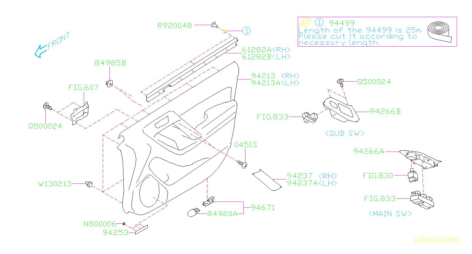 Subaru Forester Panel Power Window Sub Switch Rh Trim