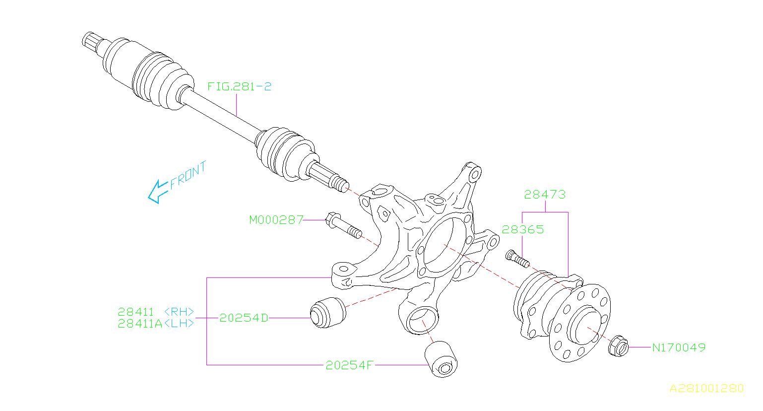 subaru rear suspension parts number diagram