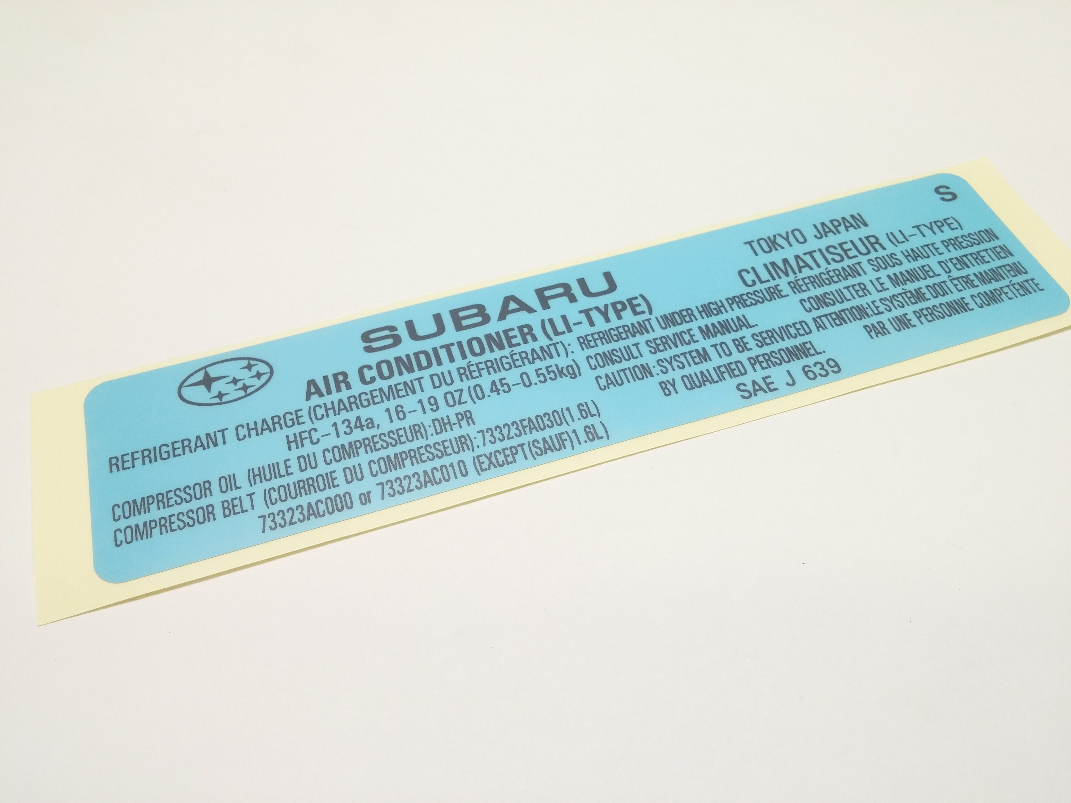 Subaru Sti Label Air Conditioner For A C 73772fe010